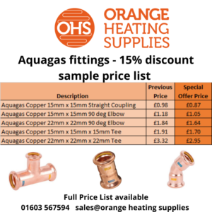 Aquagas fittings discount price list